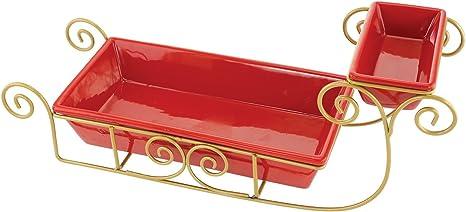 KOVOT Ceramic Santa Sleigh Snack Serving Dish Set Fender Flares ...