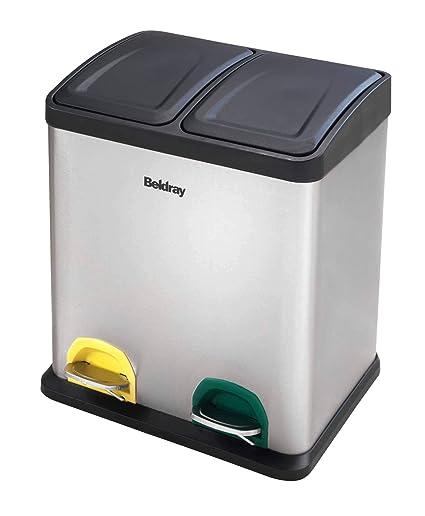 Beldray Papelera de Reciclaje (la042392 Cubo de la Basura con Pedal (30 L, Acero Inoxidable, Plata, 40 x 34 x 46 cm
