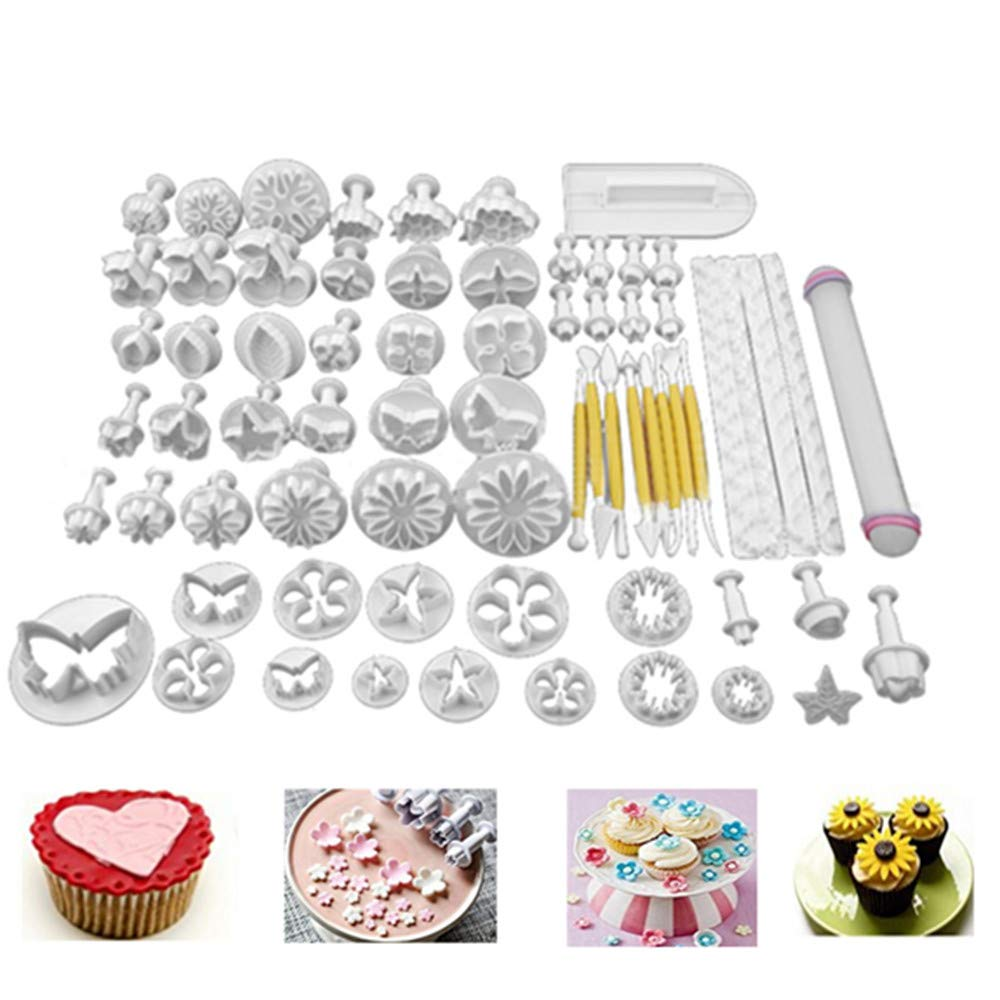 68Pcs/set DIY Cake Cutters Molds Cake Decoration Tool Set Fondant Cake Cookie Sugar Craft Decorating Plunger Flowers Modelling Tools Set