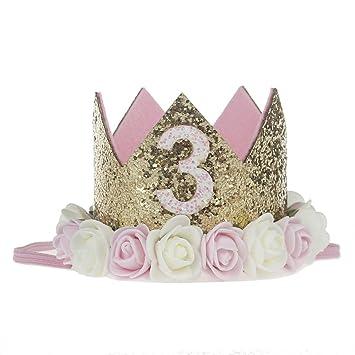 Missley Corona Rosa Flor Corona de Oro Corona de cumpleaños Princesa bebés Corona Cabeza Accesorios de Pelo (3)
