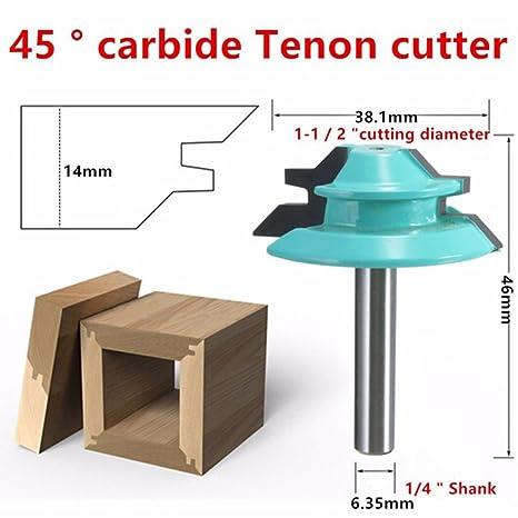 Wood Cutter Tools 45 Degree Lock Miter Router Bit 1 4 Shank 1 1 2