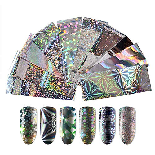 10 roll Geometric Gols Sliver Water Marble Holographic Series Nail Foil Flower Dream Catcher Holo Christmas Transfer Sticker Nail Art -
