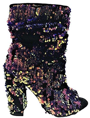 CAPE ROBBIN Odyssey-10 Ankle High Open Toe Sequin Block Heel Boot Booties Hologram Violet Violet OWjsv