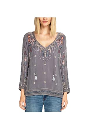 cc0018f2d1472 Johnny Was Women s Embroidered Tie Neck Blouse at Amazon Women s ...
