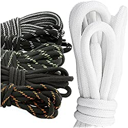 "DailyShoes Round Hiking Boot Shoelaces Strong Durable Stylish Shoe Laces Assemblage Zara , (Great for Utility Women'S Men'S Boot) Black Dark Grey 27"" inch (69 cm), (6 PAIRS PACK)"