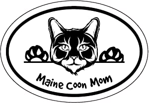 WickedGoodz Oval Maine Coon Cat Mom Decal - Feline Bumper Sticker - Kitty Cat Mom Gift