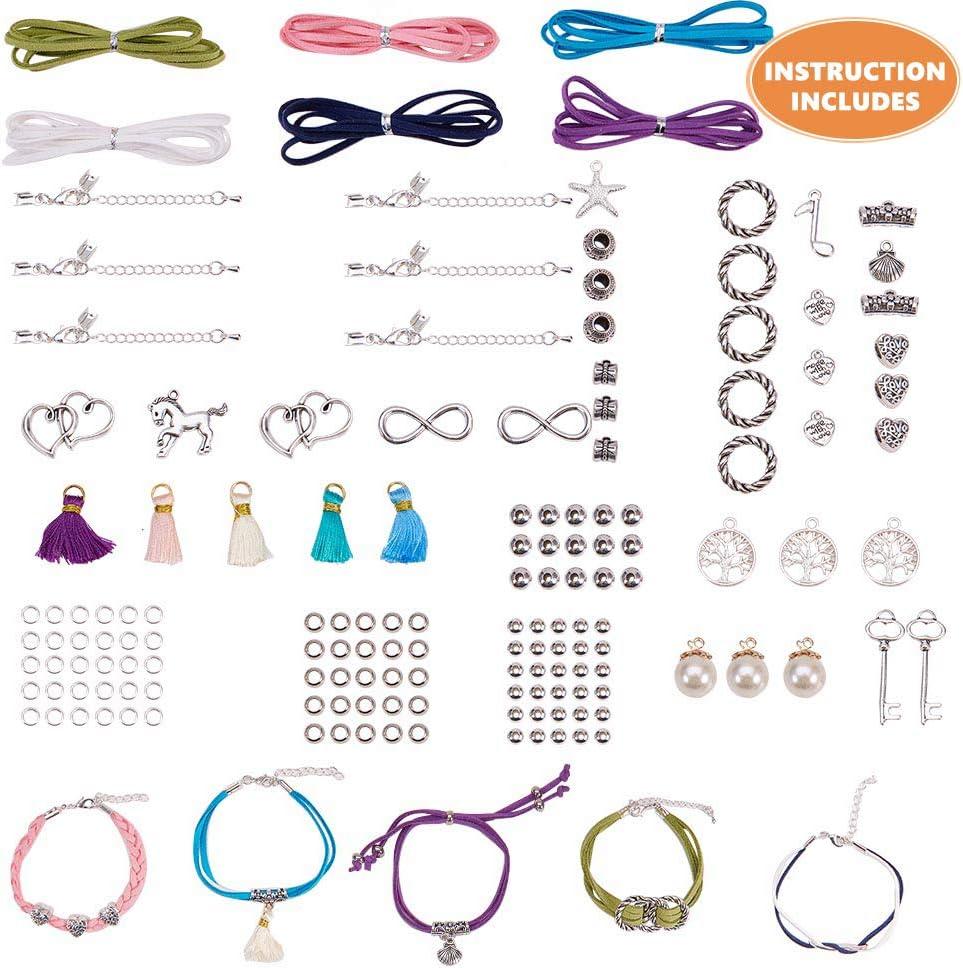 SUNNYCLUE DIY 6 filamento de cuero de gamuza Wrap Bracelet Making Kit Corazones dobles Infinity Anchor Tree of Life Key Starfish Nota musical Pearl Charms Colgantes para conjuntos de pulseras DIY