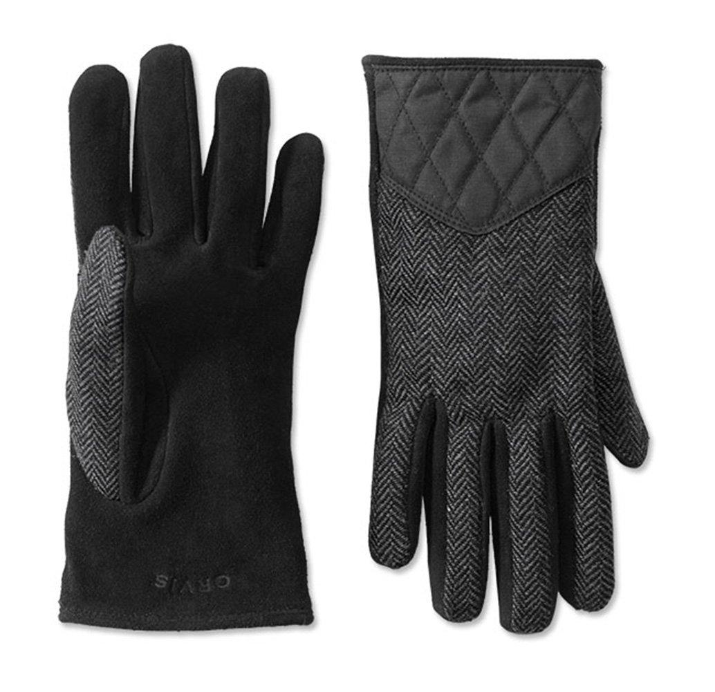 Orvis Women's Waxed Cotton Trimmed Wool Gloves, Herringbone, Medium