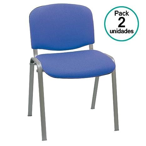Centrosilla Silla confidente ISO apilable Confortable Acolchado más Grueso Ideal para Salas Espera, reuniones, conferencias, Silla tapizada en Azul ...