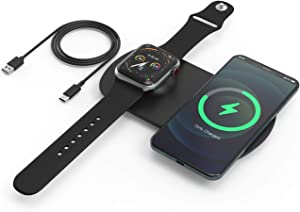 Wireless Charging Station for Multiple Devices, 2-in-1 Qi-Certified Fast Wireless Charger Compatible with iPhone 12/12 mini/12 Pro, iWatch, AirPods and More(No AC Adapter)