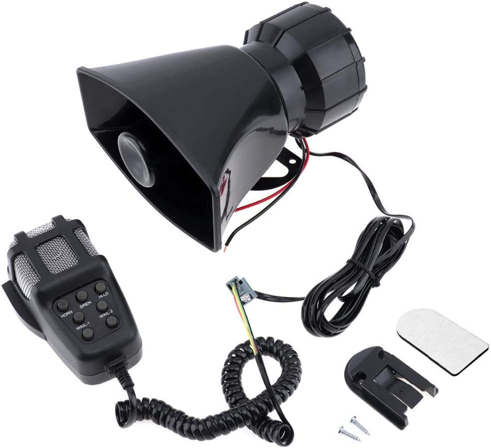 WOVELOT 100W 12V 7 Sounds Super Loud Car Electronic Warning Siren Motorcycle Alarm Horn Firemen Ambulance Speaker Loudspeaker With Mic