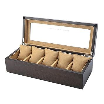Organizador de cajas de reloj 5 relojes caja de reloj de las ranuras caja de reloj ...