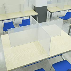 Clear School Classroom Desk Dividers for 4 Person, Plastic Desk Table Partitions Desktop Sneeze Guard Shield for Elementary School, Kindergarten, Restaurants ('十' - 4 People)