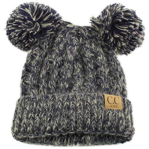 Kids Ages 2-7 Pom Pom Ears Chunky Thick Stretchy Knit Soft Beanie Hat Navy