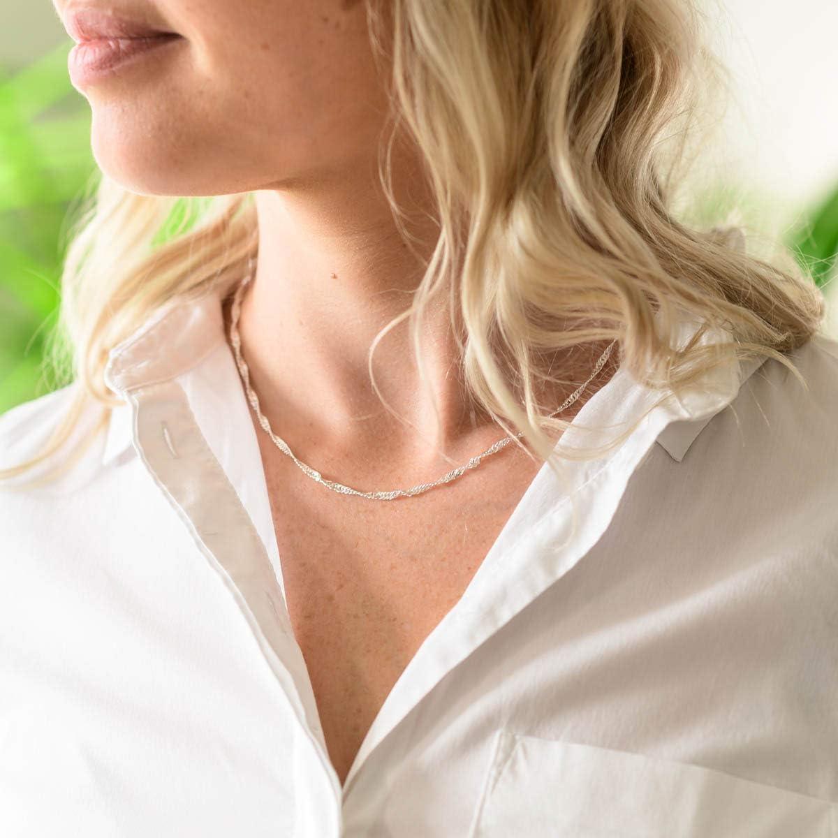 3mm Halskette Frauen flach diamantiert K95 MATERIA Feine Singapurkette 925 Silber Kette Damen