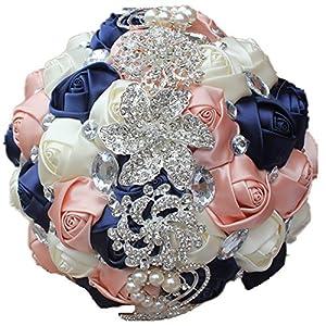 Anwedding Wedding Flowers Bridal Bouquets Elegant Pearl Bride Bridesmaid Wedding Bouquet Crystal Sparkle (Navy Blue+Rose Gold+Ivory) 113