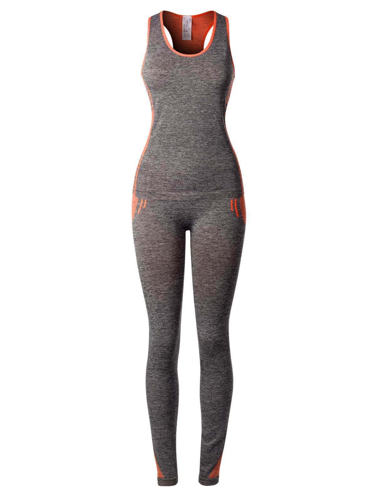 MixMatchy Women's Sports Gym Yoga Workout Activewear Sets Top & Leggings Set2 Grey/Orange ONE by MixMatchy