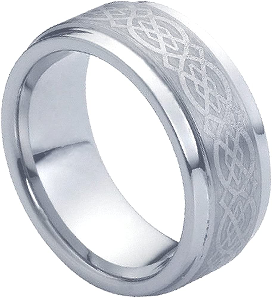 Laser Engraved Celtic Knot Design over Brushed Center Comfort Fit Tungsten Carbide Anniversary Ring Mens 9mm Pipe Cut Stepped Edge Wedding Band