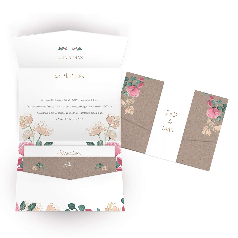 Hochwertige Einladungskarten zur Hochzeit im edlen Kraftpapier Look   Designs auswählbar   Hochzeitseinladungen mit Druck Ihrer eigenen Texte   100 Stück   Rustic Vintage   Moderne Hochzeitskarten B07NBW2NFM | Ausgezeichnete Leistung  | Um Eine
