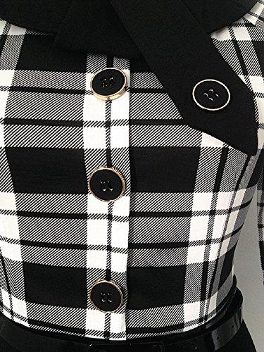 Cx Cou À La Mode Rétro Élégante Des Femmes 2/3 Manches À Carreaux Mince Robe De Soirée D'affaires