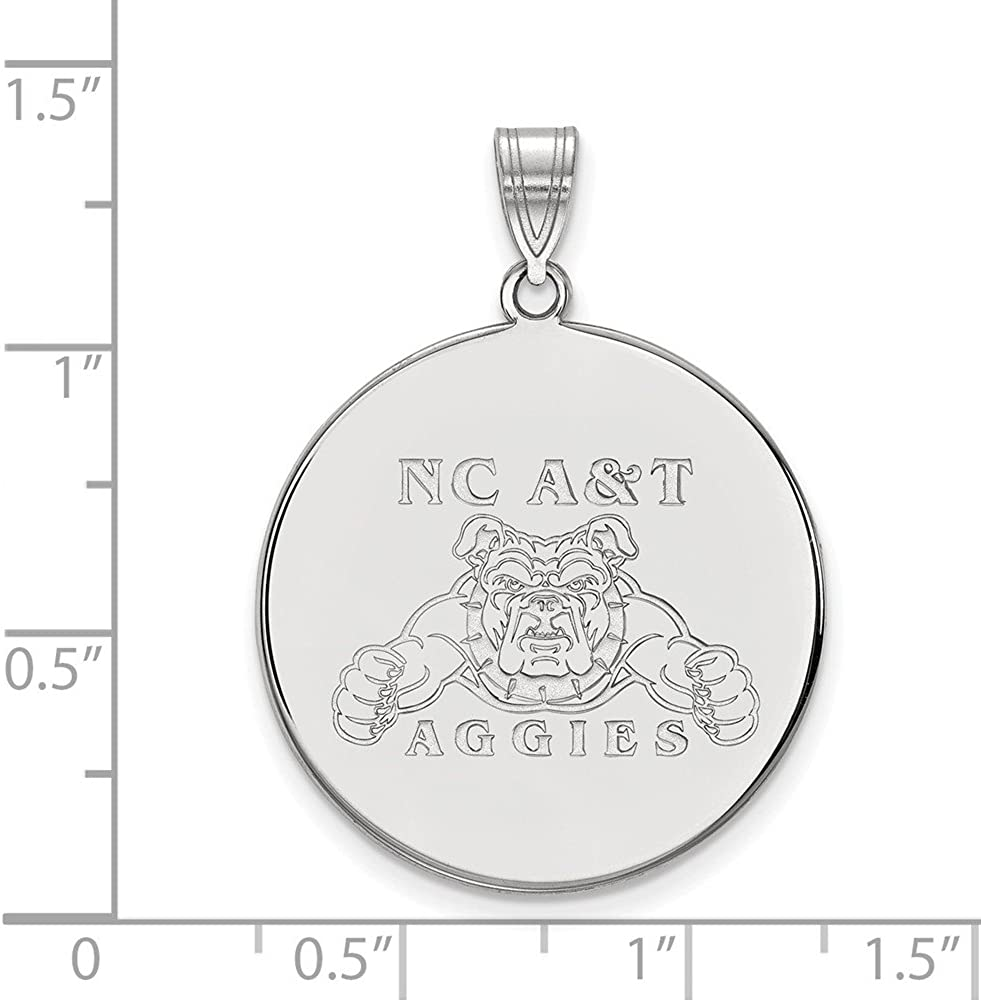 White Sterling Silver Charm Pendant North Carolina NCAA A/&T State University 32 mm 25