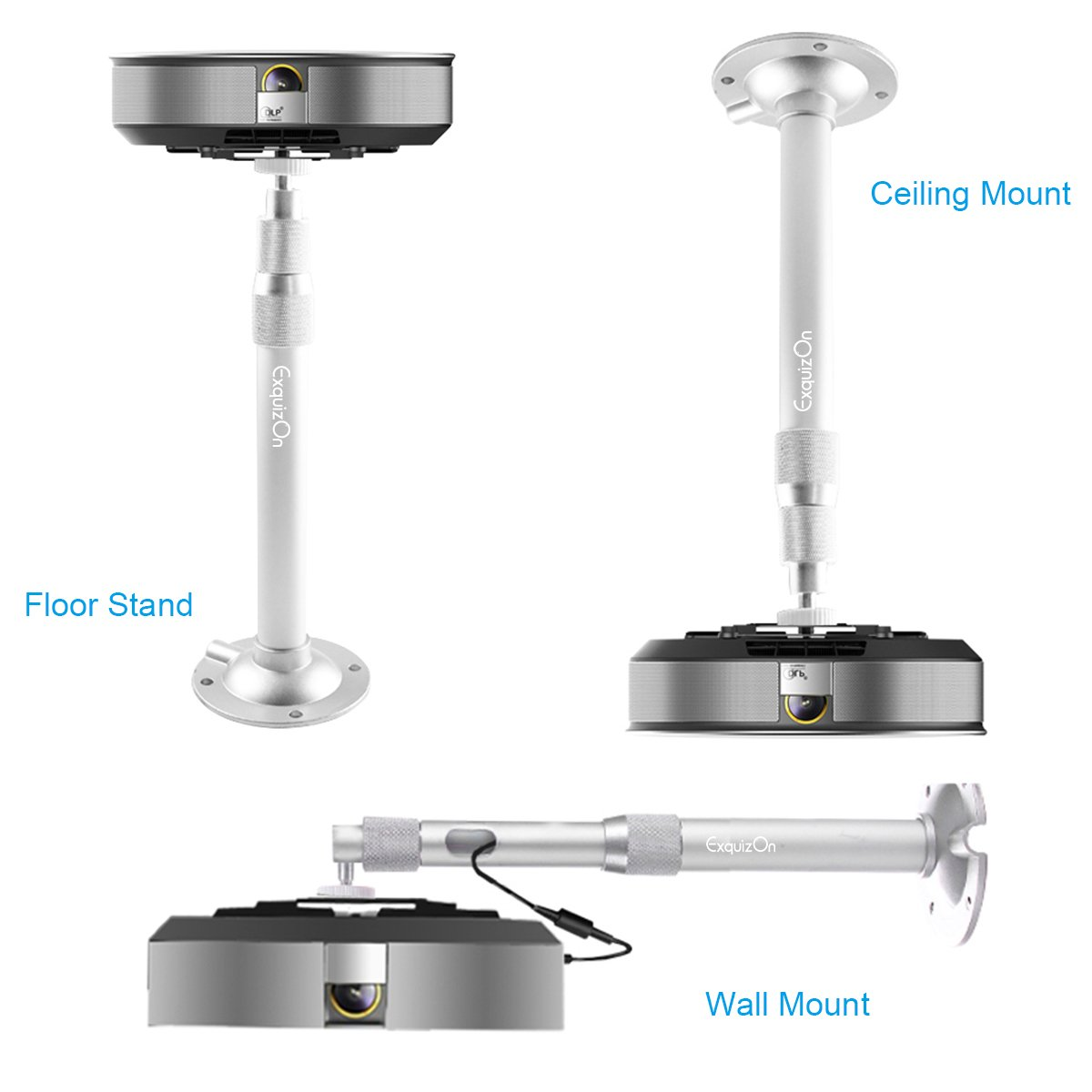 Exquizon Projector Mount 360° Rotation and Adjustable Length From 11.8 To 17.7 Inches Max Load 4.4 Lbs Overhead Ceiling Wall Projector Mount Hanger For Mini Projector CCTV DVR Camera, Silver