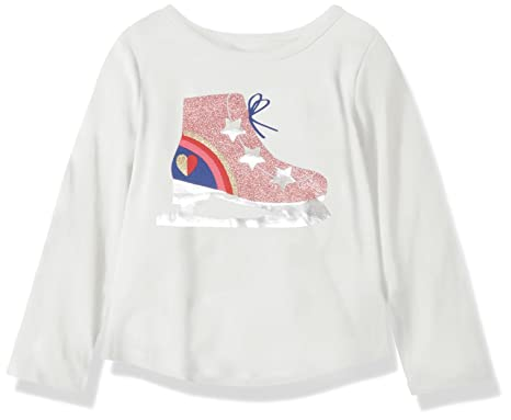 30f8141c7eaf Crazy 8 Girls' Toddler Long Sleeve Graphic Tee, White ice Skate, ...