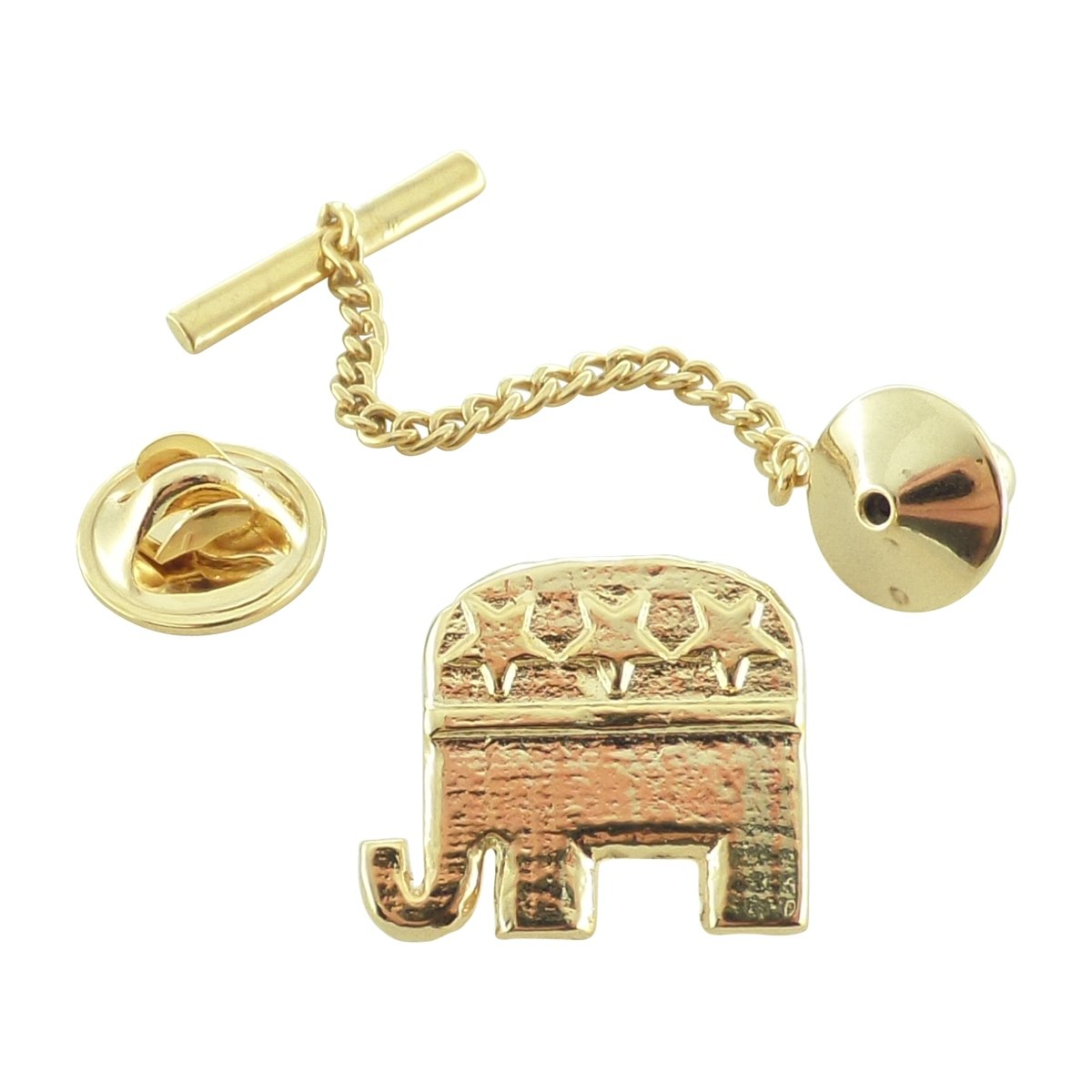 Creative Pewter Designs, Pewter Republican Elephant Tie Tack, Gold Plated, AG1030TT