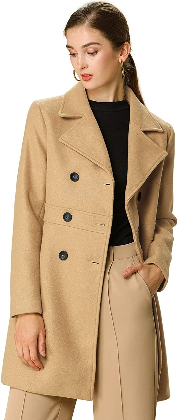 Allegra K Women's Double Breasted Notched Lapel Long Winter Coats: Clothing