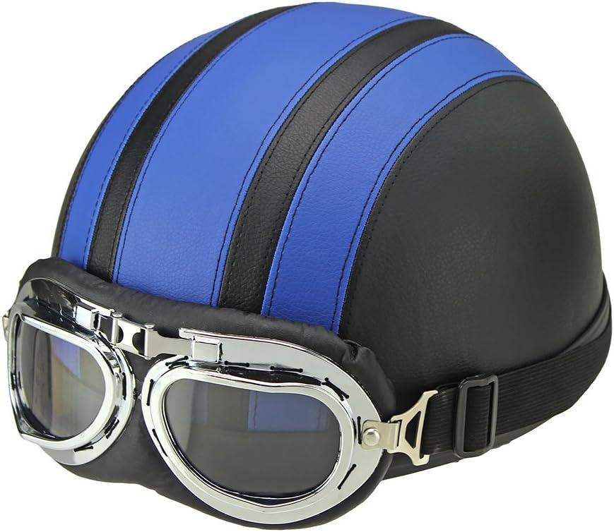 Oshide Bike Scooter Motorcycle Half Helmet with Goggles Glasses Visor for Women Men Blue+Black