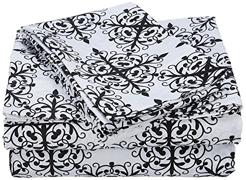 HollyHOME Collection 4 Pieces Ultra Soft Printed Bed Sheet Sets-Hypoallergenic Brushed Microfiber- Wrinkle and Fade Resistant, Damask Black, Queen