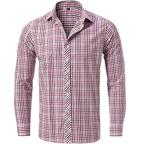 Pass Plaid Shirt (Men's Casual Slim Fit Long Sleeve Button Down Dress Shirt Plaid Shirt,Red/Black Shirts 15.5