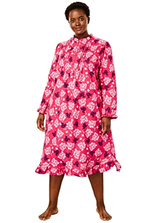 Only Necessities Women s Plus Size Cotton Flannel Print Short Gown - Pink  Burst Floral 8b84fed2a