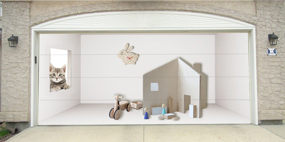 Re-Usable 3D Effect Garage Door Cover Billboard Sticker Decor Skin - Daycare - Sizes to fit your Garage.