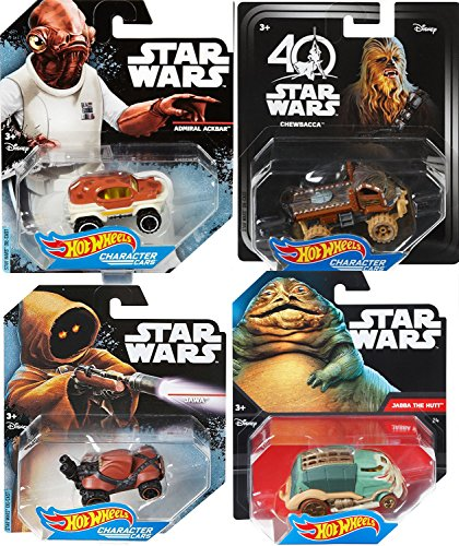 Hot Wheels Star Wars Alien Creatures / Jawa Vehicle / Jabba the Hutt / Admiral Ackbar Chewbacca Wookie character cars 4-Pack