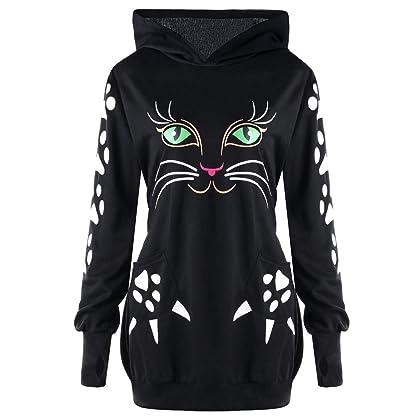 51ea951cd22 Clearance Forthery Women Hoodie Sweatshirt Long Sleeve Cat Print Pullover  Tops Coat(Black
