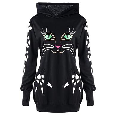 Mujer Gato Animal Imprimir Manga Larga Talla Grande Sudaderas con ...