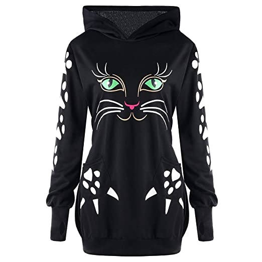 GOVOW Halloween Sweater Shirt for Women Cat Print Hoodie with Ears Hooded  Pullover Tops Blouse( b8b790bd09