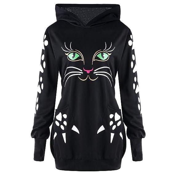❤ Sudadera con Capucha para Mujer, Sudadera con Capucha y Estampado de Gatos con borlas en los oídos Blusa con Capucha Absolute: Amazon.es: Ropa y ...