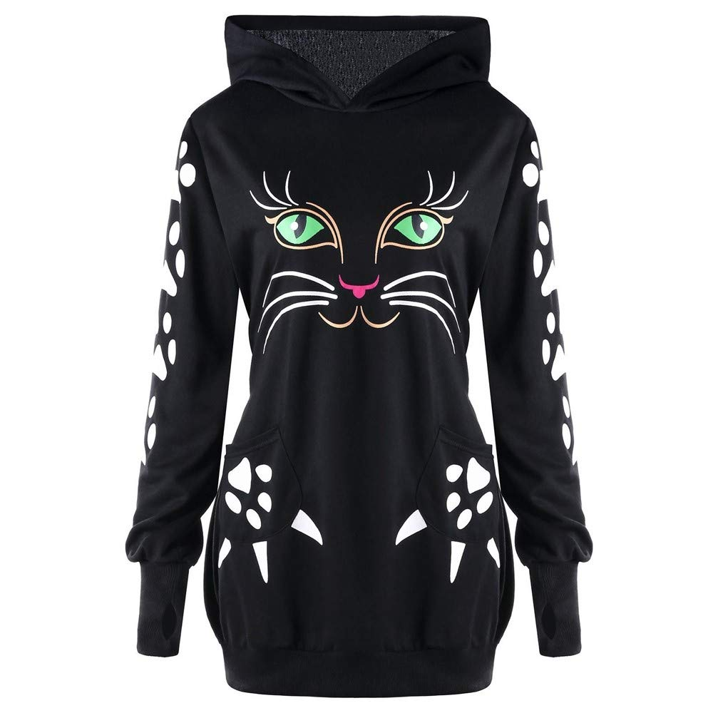 Gyoume Womens Cat Print Hoodie Sweater with Ears Hooded Pullover Tops Blouse Sweatshirt