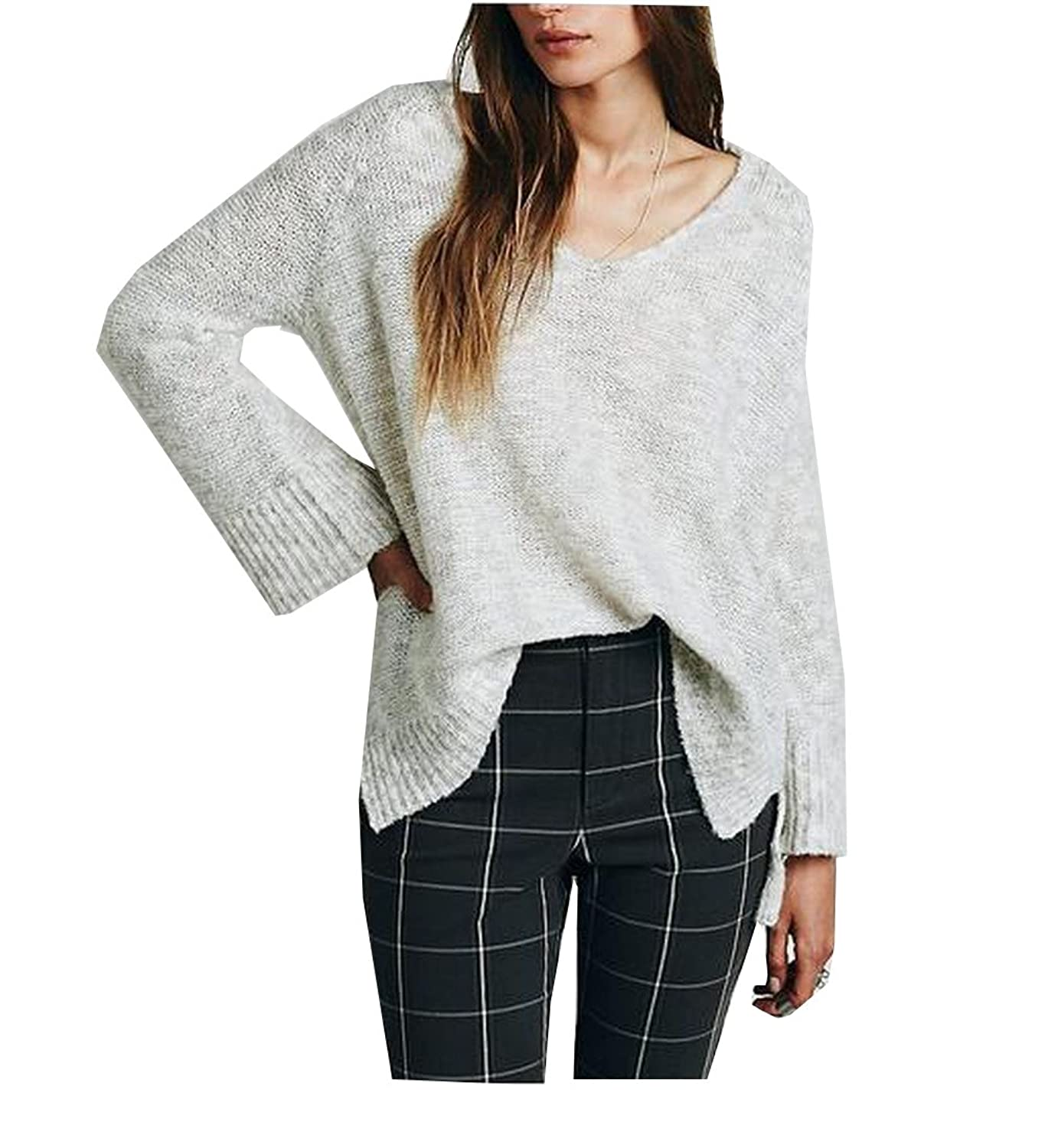 YUNY Womens Raglan Sleeve Pullover V Neck Knitted Sweater