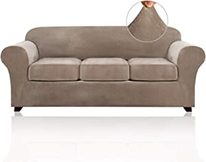 4 Pieces Sofa Covers Stretch Velvet Couch Covers for 3 Cushion Sofa Slipcovers Thick Soft Sofa Slip Covers with 2 Non Slip Straps Furniture Covers with 3 Individual Seat Cushion Covers (Sofa, Taupe)