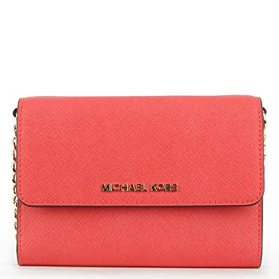 e082d251fd88 Michael Kors Jetset Travel Coral Reef Leather Phone Cross-Body Bag Pink  Leather