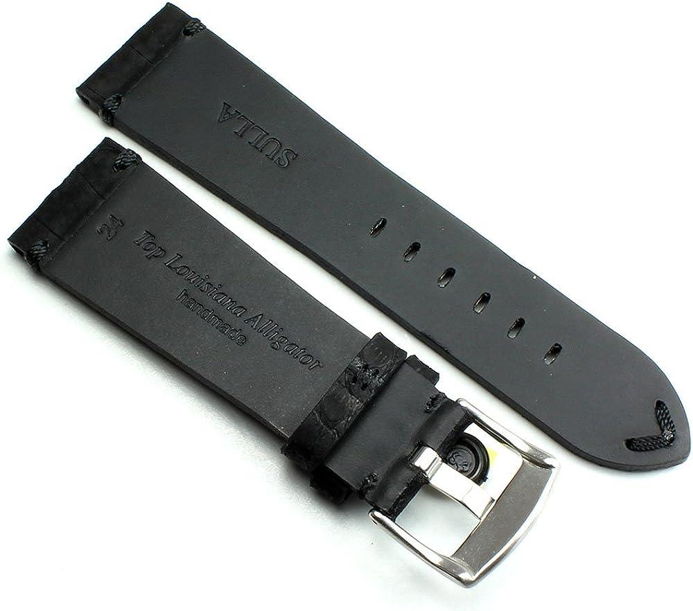Bracelet de Montre en Cuir véritable Alligator Vintage en Nubuck Noir 24 mm Coutures Noires