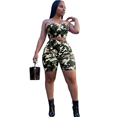 cheap for discount 66437 b1bb7 Upors Womens Sexy Two Piece Outfits Camouflage Sleeveless Crop Tops and  Shorts Jumpsuit Tracksuit Set(