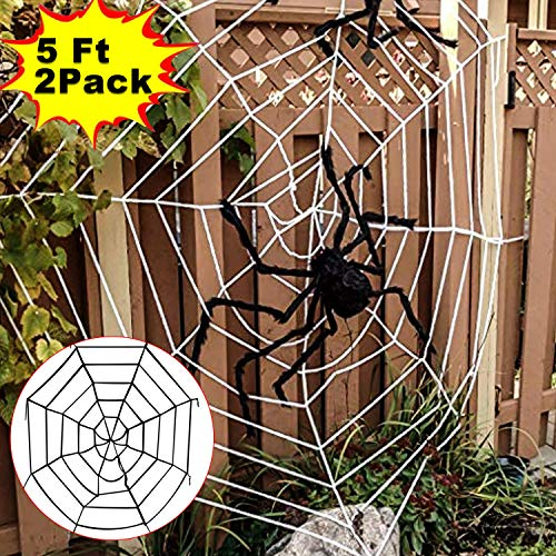 Halloween Decoration Clearance 2 Pack Super Stretch Giant Spider Web Indoor Outdoor Decorations Yard Garden Large Cobweb Set for Office Window Wall Scary Spooky Haunted Houses Props Bar Party -