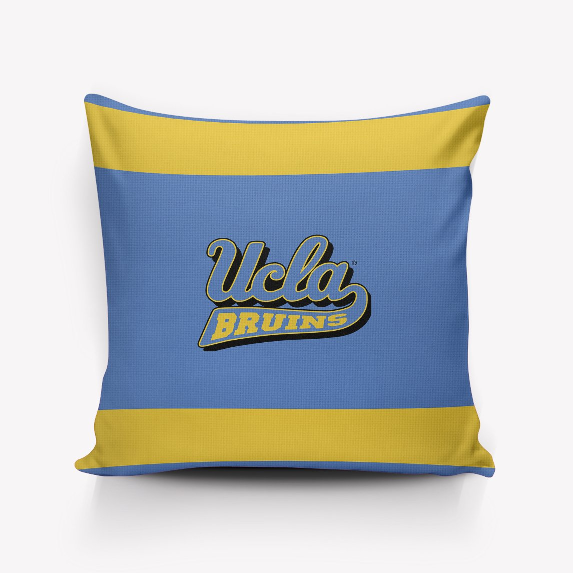 Pillow Case with Hidden Zipper Satin Fabric Skin and Hair Beauty Ucla School Logo Graphic, Blue Background with Yellow Stripes Pillowcases Wrinkle, Fade, Stain Resistant Pillow Covers 18x18 inch