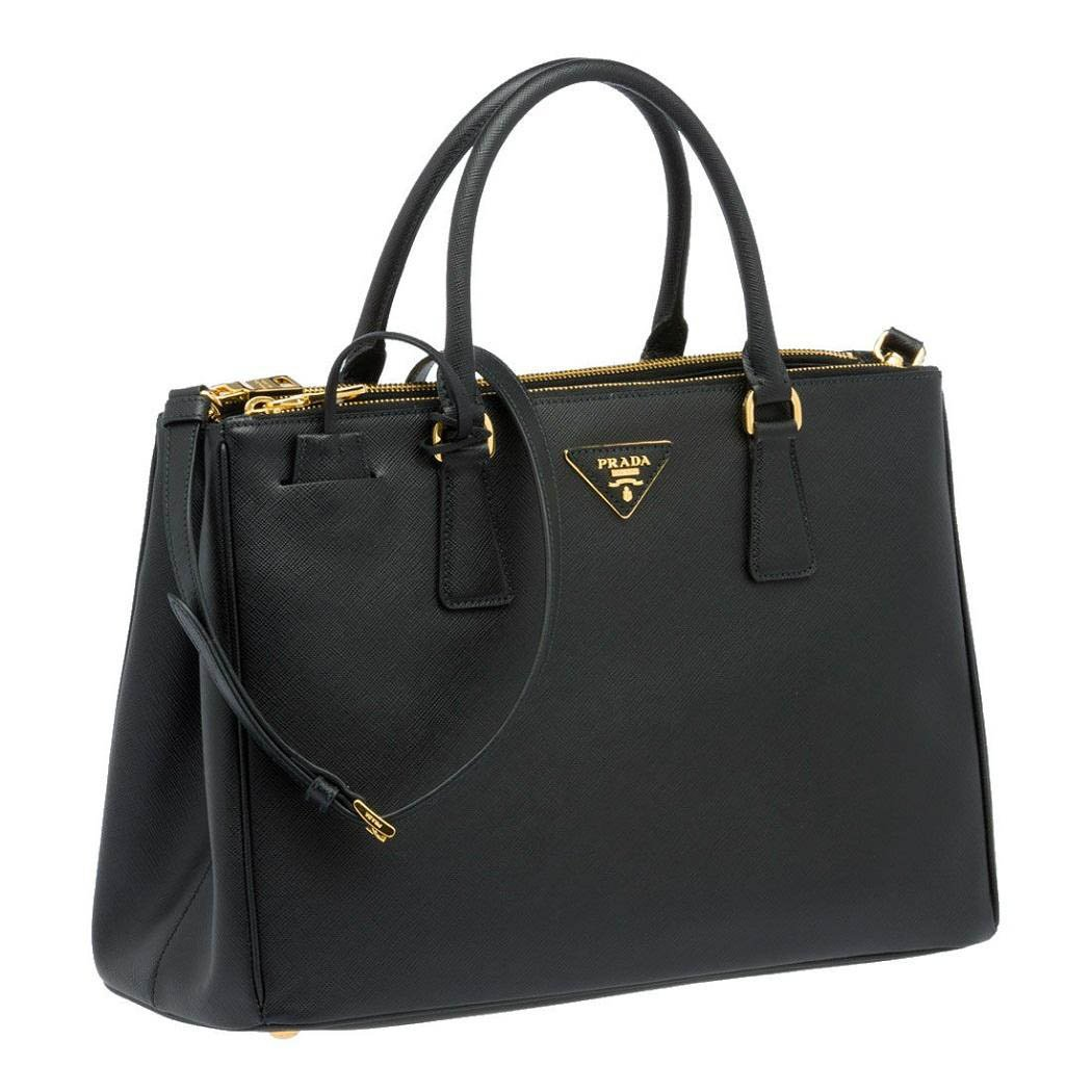 64c8eba725ff Prada Women's Tote Bag Saffiano Leather in Black Style 2274: Amazon.co.uk:  Clothing