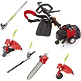Trueshopping 52cc Petrol Multi Tool Long Reach Multi Function 5 In 1 Garden Tool Powerful Including: Hedge Trimmer, Grass Trimmer, Brush Cutter, Chainsaw Pruner & Free Extension Pole 2-Stroke 2.2KW 3HP