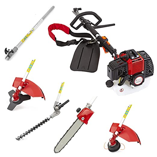 Trueshopping® 43cc Petrol Multi Tool 5 In 1 Multi Function Garden Tool Long Reach Including: Hedge Trimmer, Grass Trimmer, Brush Cutter, Chainsaw Pruner & Free Extension Pole 2-Stroke 1.7KW 2.2HP